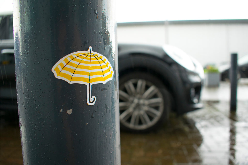 Awesome stickers make everything better. Even rainy carparks.
