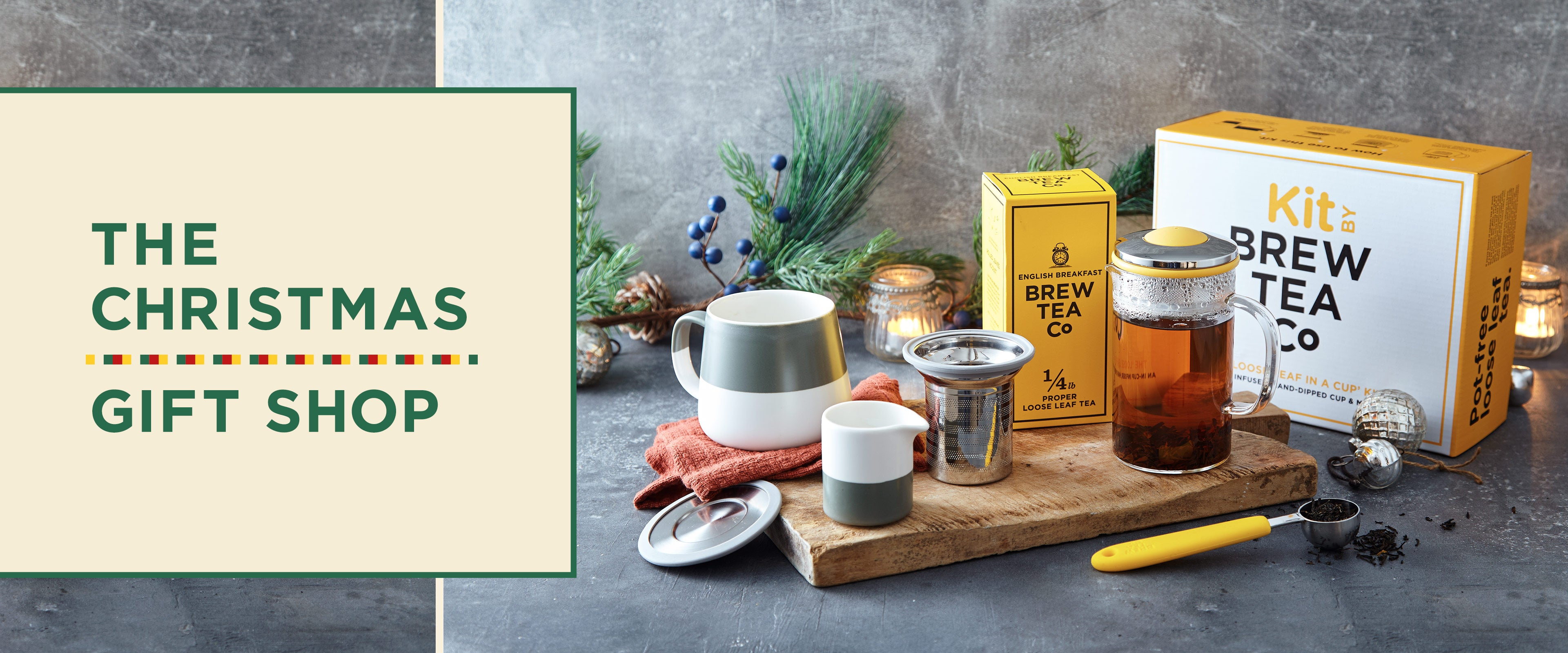 Our Christmas Gift Shop collection - a box of English Breakfast loose leaf tea, a tea pot, tea kit, tea equipment, tea infuser, christmas gifts.