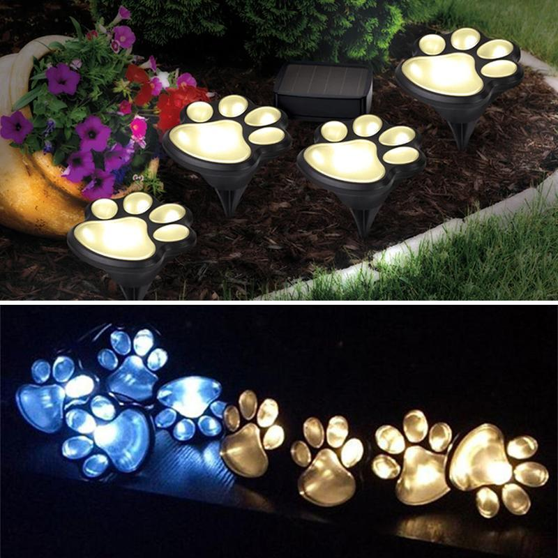 Solar-Powered Paw Print Lights Garden Lantern