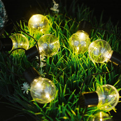 Clear Bulb Globe Solar String Lights - pure Green leaf