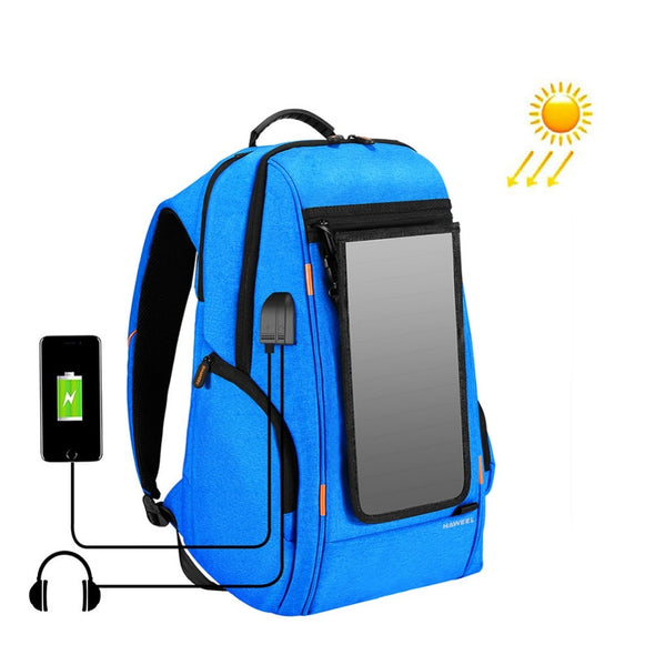 Wool Travel Solar Charging Backpack - pure Green leaf