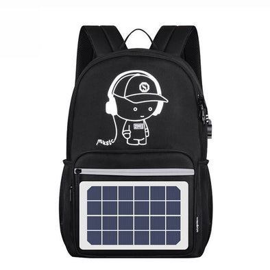 Solar Charging Port Travel Backpack - pure Green leaf