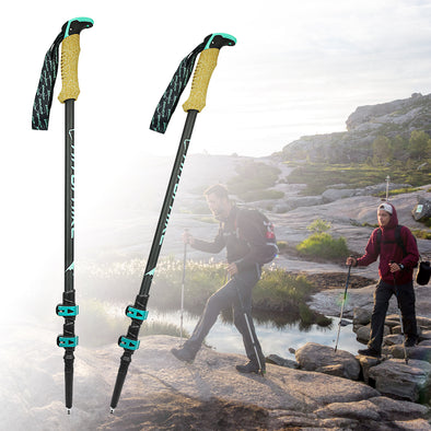 Telescopic Hiking Walking Stick - pure Green leaf