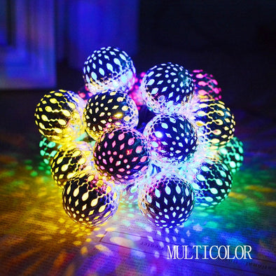 Moroccan Style Ball Multi Color Solar String Lights - pure Green leaf