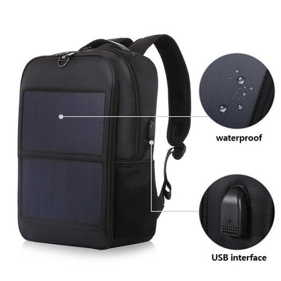 High-End Waterproof Solar Backpack - pure Green leaf