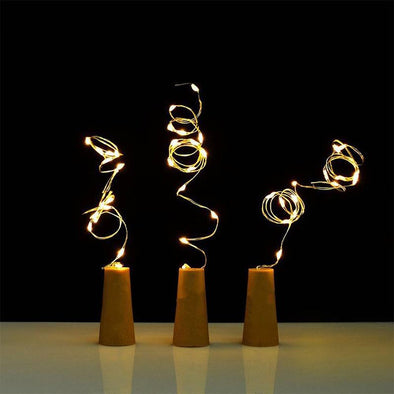 Bottle Cork Shaped String Lights - pure Green leaf