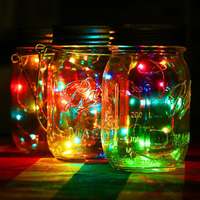 Mason Jar Lid Solar String Light - pure Green leaf