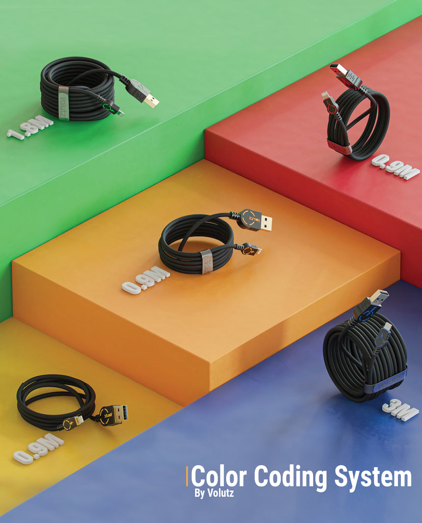 MFi Certified Lightning to USB Cables (5X), Assorted Lengths, Color-coded by Volutz - Volutz