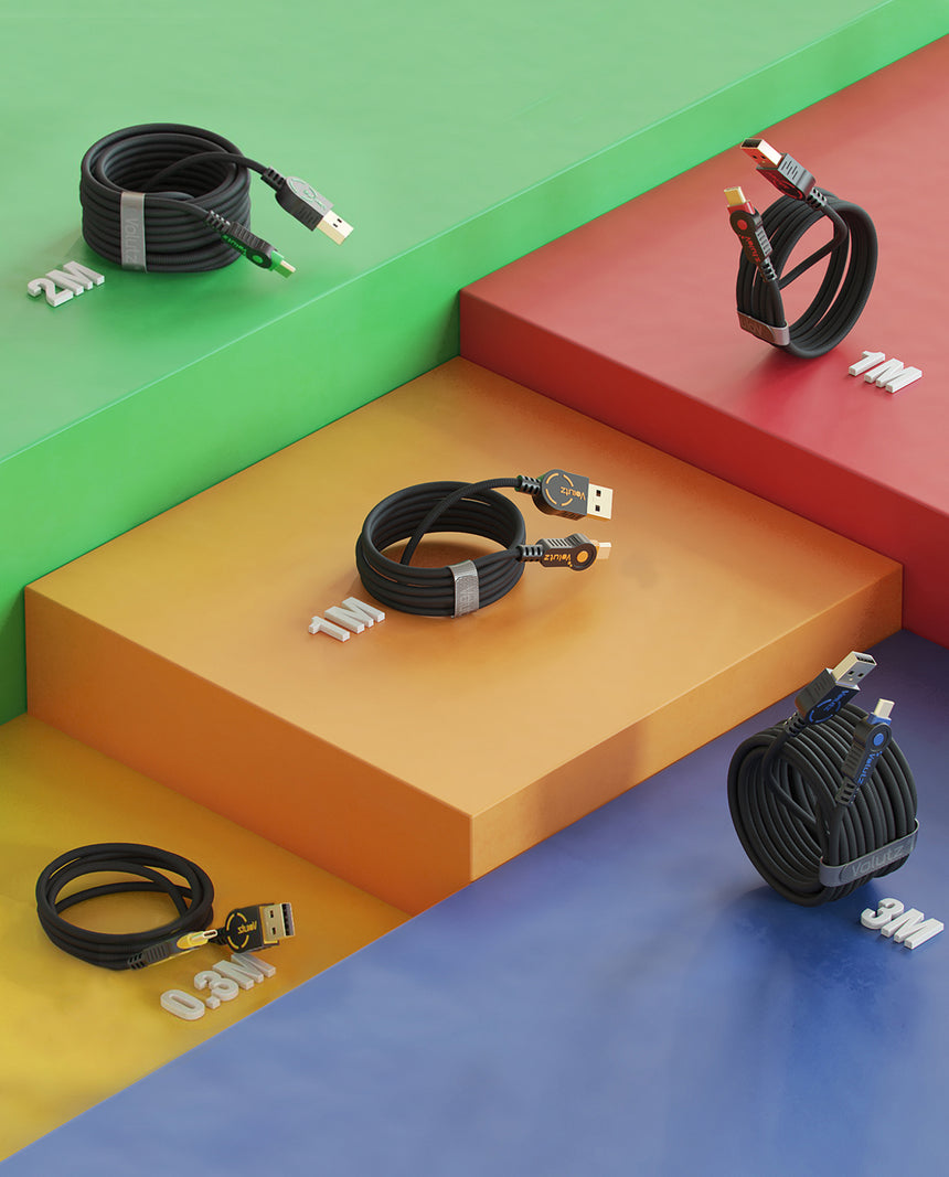USB-C to USB Cables (5X), Assorted Lengths, Color-coded by Volutz - Volutz