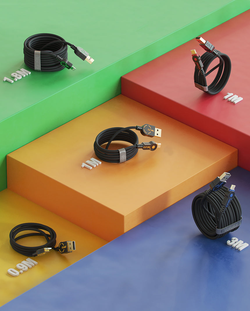 Color-coded by Volutz (5X) Mixed USB Cables, Assorted Lengths - Volutz