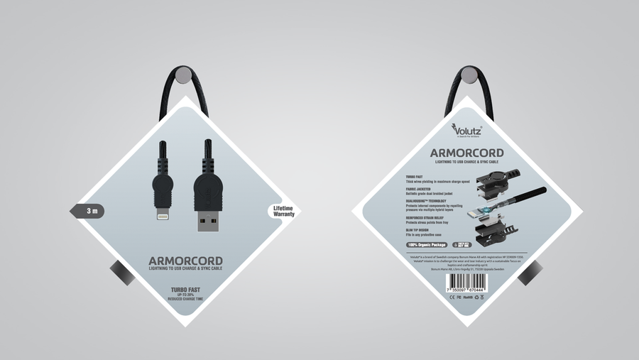 Lightning to USB A Cable - Jet Black - Volutz