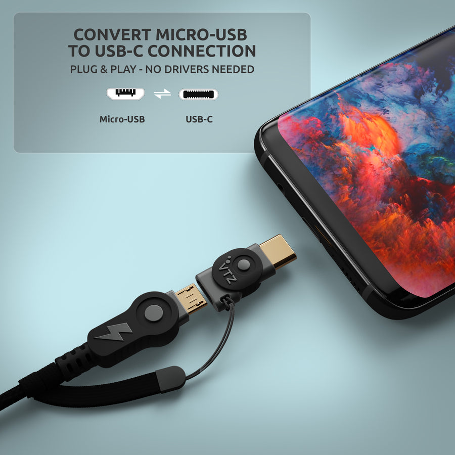 Micro USB to USB C - Onyx Black