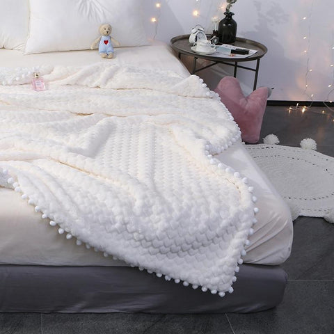 Soft White/pink/grey Blanket