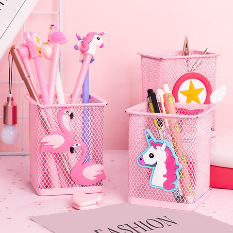 Pink Metal Pen Holder