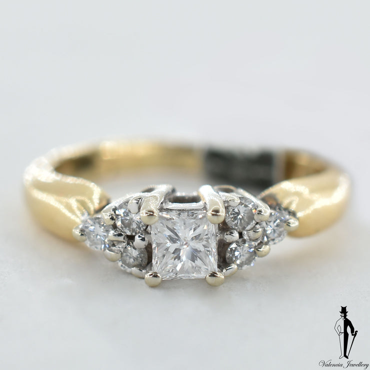 14K Yellow and White Gold SI2-I1 Diamond (0.45 CT.) Solitaire Engagement Ring With Shoulder Settings