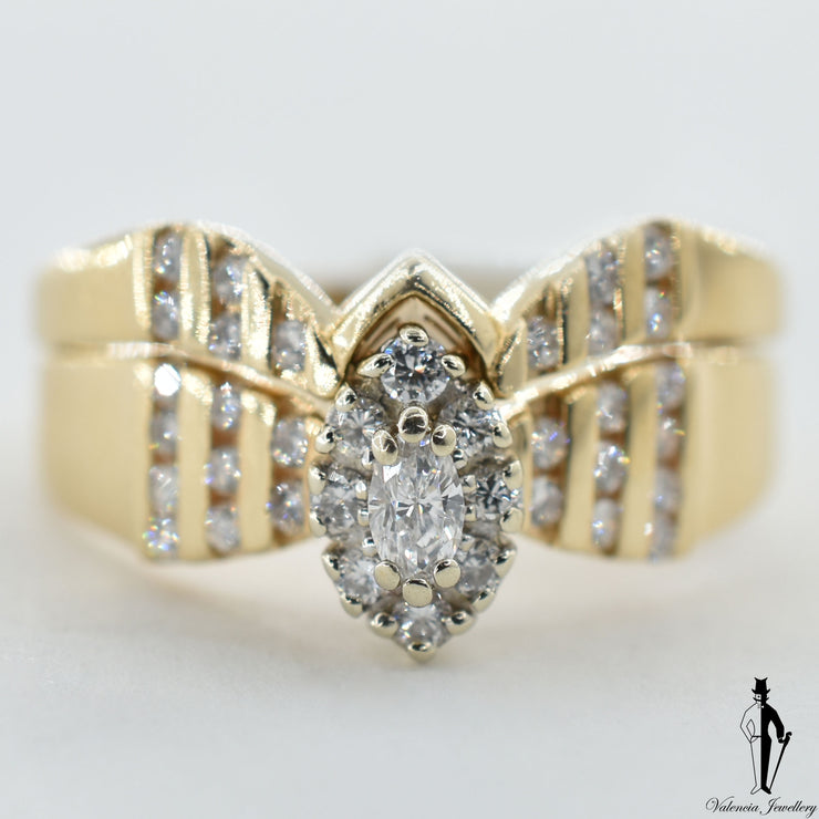 14K Yellow and White Gold SI1 Diamond (0.48 CT.) Cluster Style Engagement Ring and Band