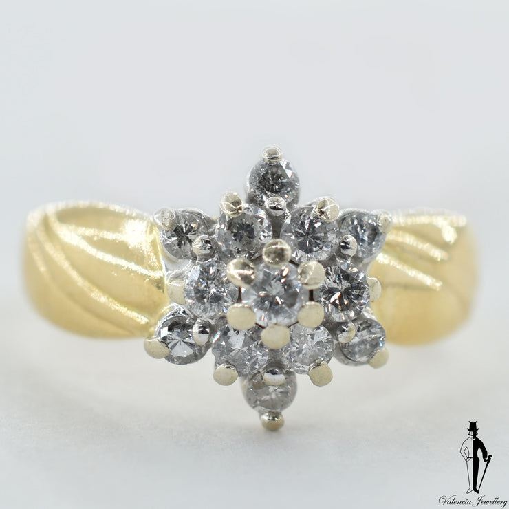 14K Yellow and White Gold SI2 Diamond (0.36 CT.) Cluster Style Ring