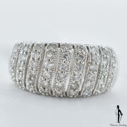 14K White Gold SI2-I1 Diamond (0.50 CT.) Dome Style Milligrain Pattern Ring