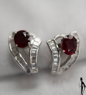 1.0 CT. Diamond and 2.20 CT. Ruby Earrings in 18K White Gold