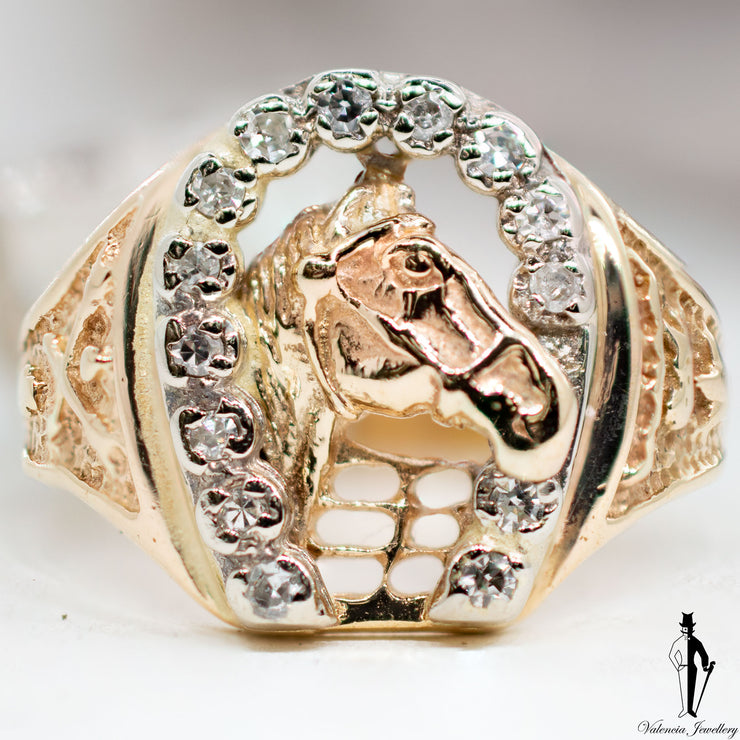 0.20 CT. (VS-SI) Diamond Gentlemen Horse Ring in 14K Yellow and White Gold