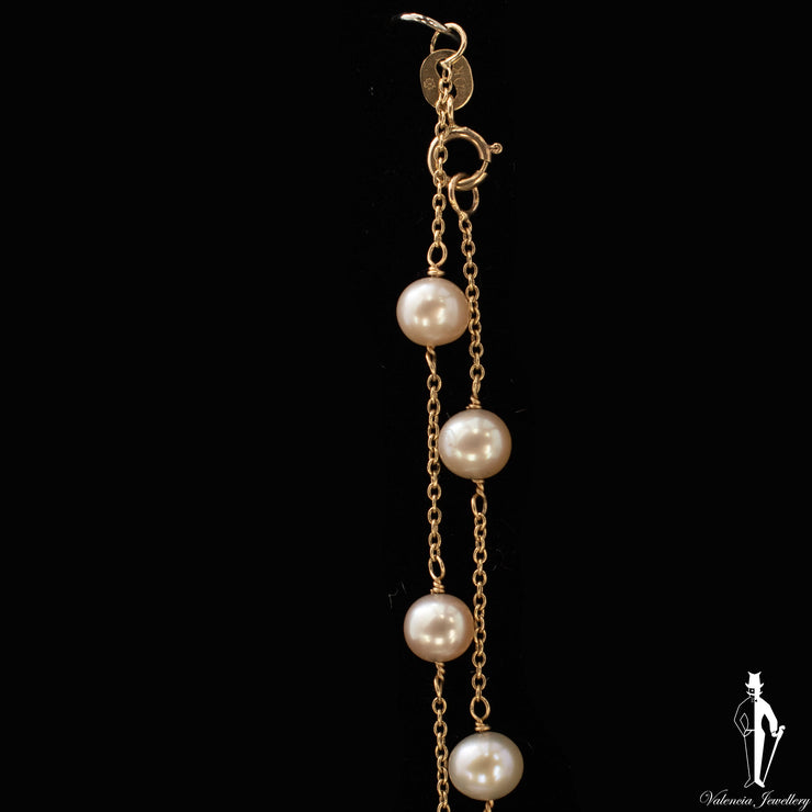 17 Inch 10K Yellow Gold Pearl Cable Link