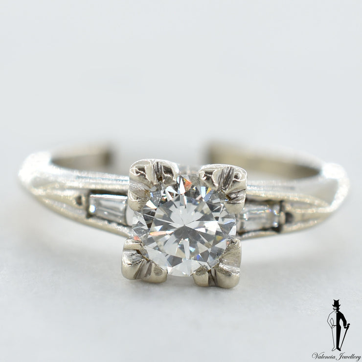 14K White Gold SI2-VS Diamond (0.75 CT.) Solitaire Engagement Ring With Shoulder Settings