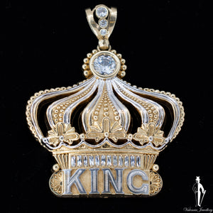 43.9 Gram 10K Yellow and White Gold Mens Kings Pendant