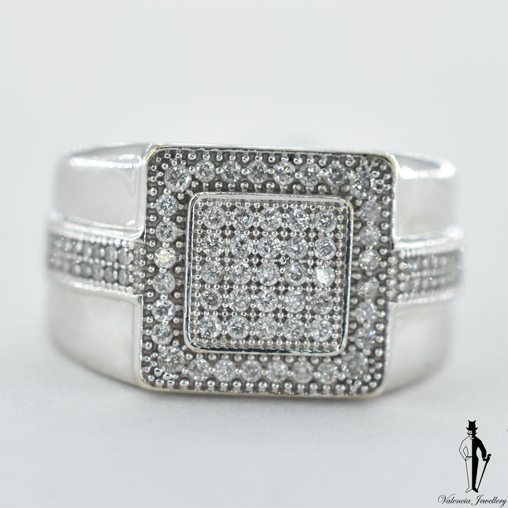 10K White Gold Diamond (0.38 CT.) Custom Bead Set Square Shape Ring