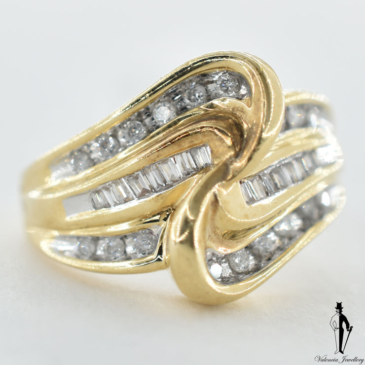 10K Yellow and White Gold SI2-I1 Diamond (0.60 CT.) Swirl Style Ring