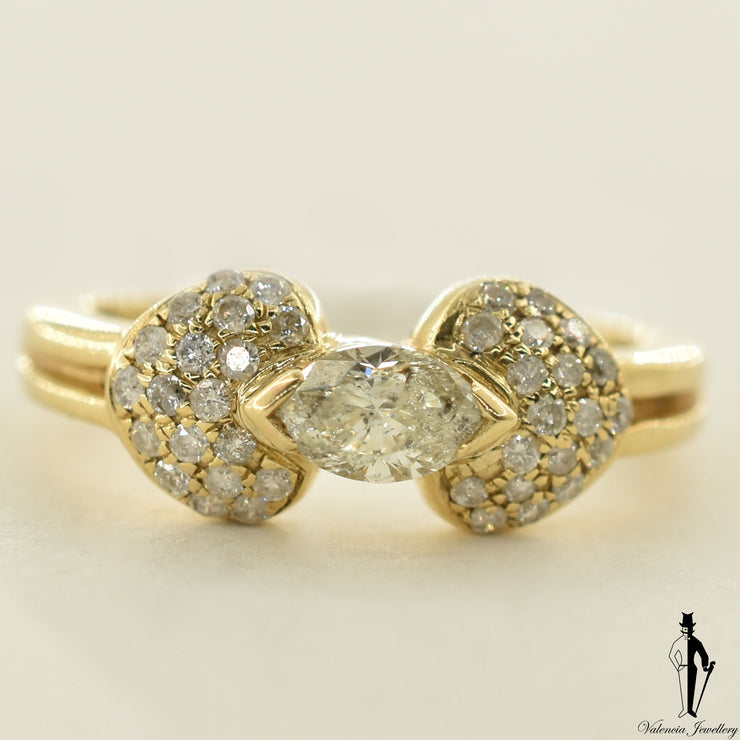14K Yellow Gold I1 Diamond (0.46 CT.) Shoulder Setting Engagement Ring