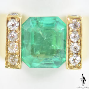5.23 CT. Emerald and Diamond Ring in 18K Yellow Gold