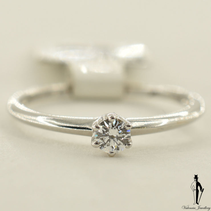 18K White Gold VS2 Diamond (0.16 CT.) Solitaire Engagement Ring