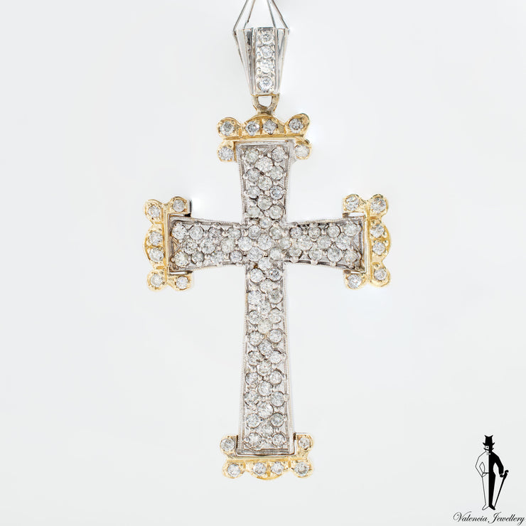 4 CT (SI-I) Diamond Two Tone Hand Fashioned 14K Cross Pendant