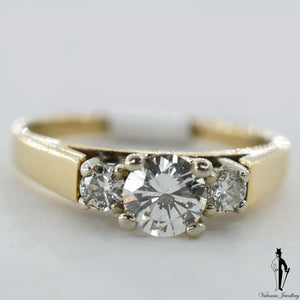 14K Yellow and White Gold VS1 Diamond (0.52 CT.) Three Stone Engagement Ring