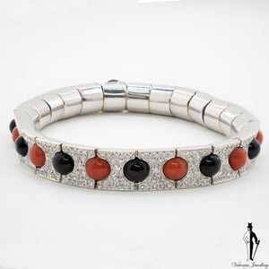 2.65 CT. (VVS) Diamond, Coral and Onyx Ladies Bracelet in 18K White Gold