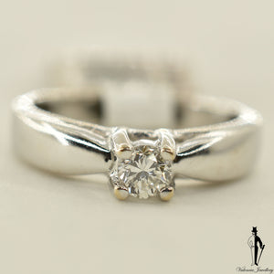 18K White Gold SI Diamond (0.22 CT.) Solitaire Engagement Ring