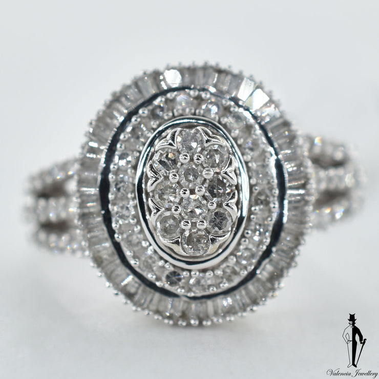 10K White Gold VS-SI Diamond (0.70 CT.) Cluster Style Ring