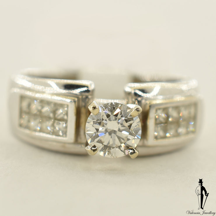18K White Gold SI2 Diamond (0.59 CT.) Channel Setting Engagement Ring