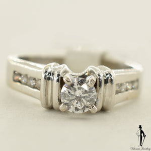 14K White Gold I1 Diamond (0.45 CT.) Channel Setting Engagement Ring