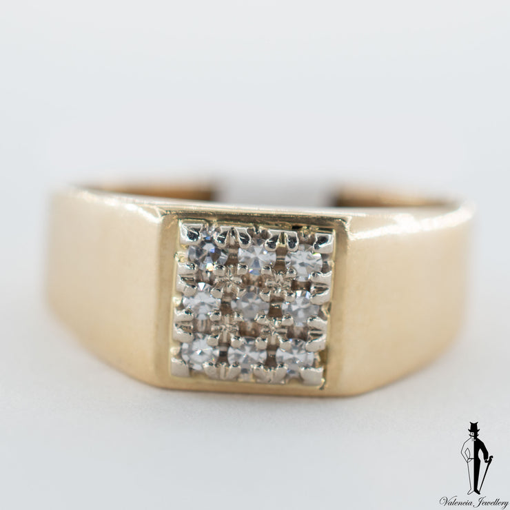 14K Yellow and White Gold Diamond (0.15 CT.) Square Shape Ring