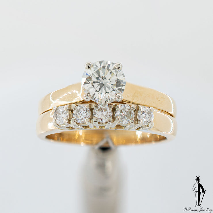 0.81 CT. (SI1-SI2) Diamond Ring and Band Set in 14K Yellow and White Gold