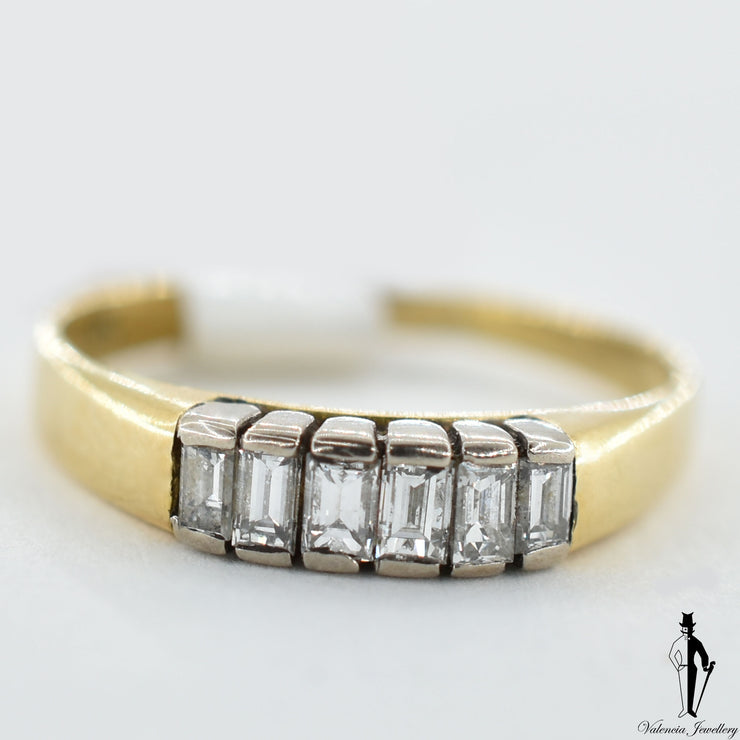 18K Yellow and White Gold VVS-VS Diamond (0.60 CT.) Half Bezel Set Ring