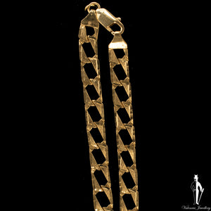 23 Inch 10K Yellow Gold Fancy Curb Link Chain