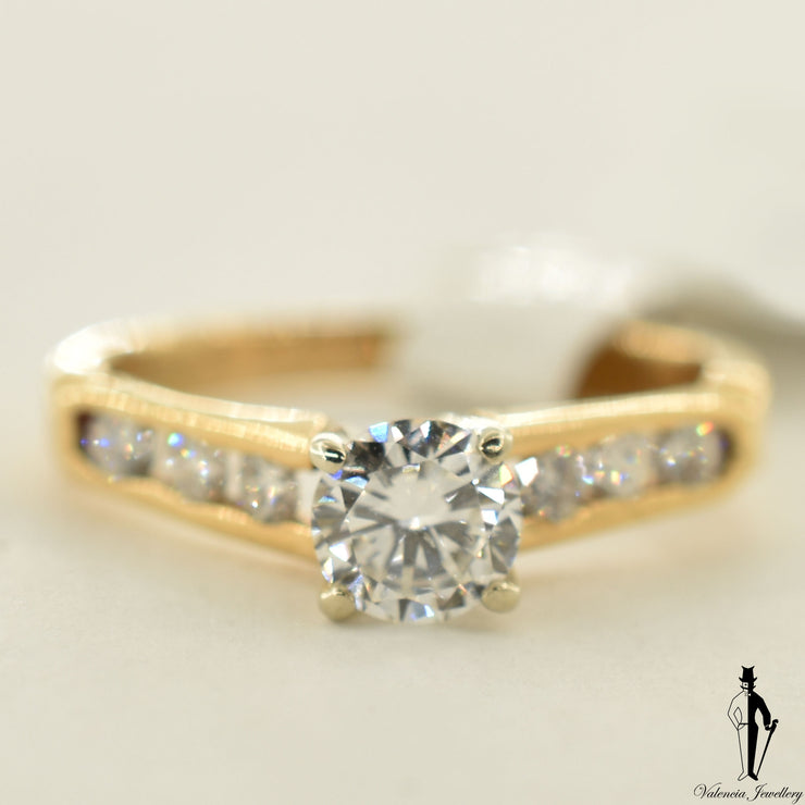 18K Yellow Gold SI1 Diamond (0.49 CT.) Channel Setting Engagement Ring