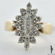 14K Yellow and White Gold SI1-2 Diamond (0.60 CT.) Cluster Style Ring