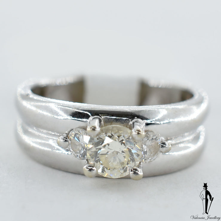 14K White Gold SI2-I1 Diamond (0.58 CT.) Three Stone Engagement Ring