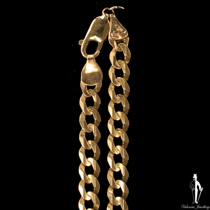 21 Inch 10K Yellow Gold Flat Curb Link Chain