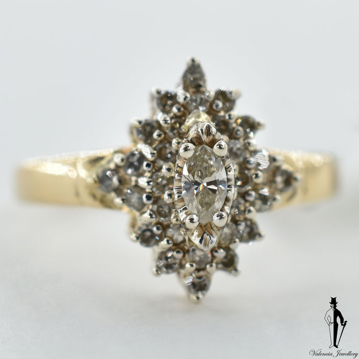 14K Yellow and White Gold SI2 Diamond (0.20 CT.) Cluster Style Ring