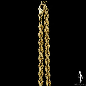 23 Inch 14K Yellow Gold Semi Solid Rope Link Chain