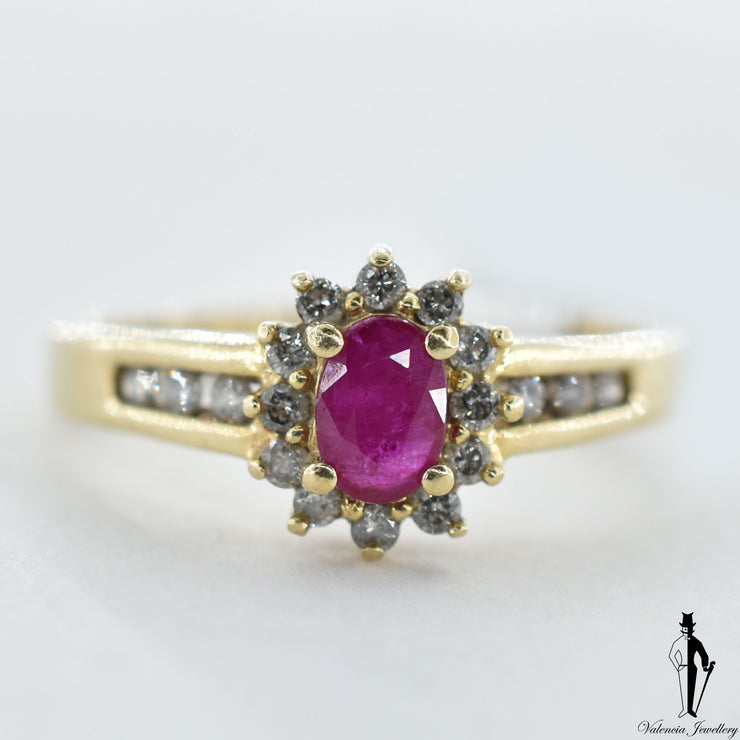 10K Yellow Gold Natural Ruby and Diamond (0.36 CT, 0.28 CT.) Cluster Style Ring